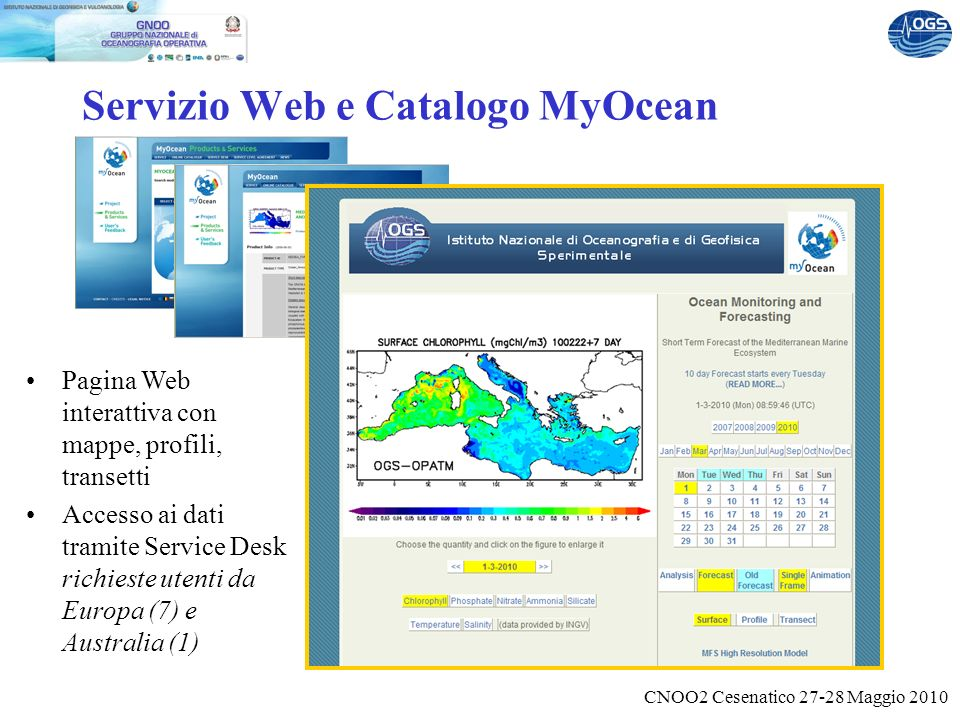 CNOO2 Cesenatico 27-28 Maggio 2010 Servizio Web e Catalogo MyOcean Pagina Web interattiva con mappe, profili, transetti Accesso ai dati tramite Service Desk richieste utenti da Europa (7) e Australia (1)