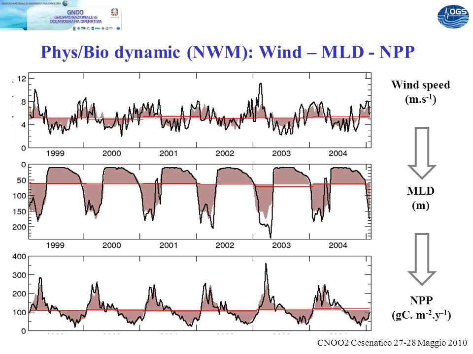CNOO2 Cesenatico 27-28 Maggio 2010 Phys/Bio dynamic (NWM): Wind – MLD - NPP Wind speed (m.s -1 ) MLD (m) NPP (gC.