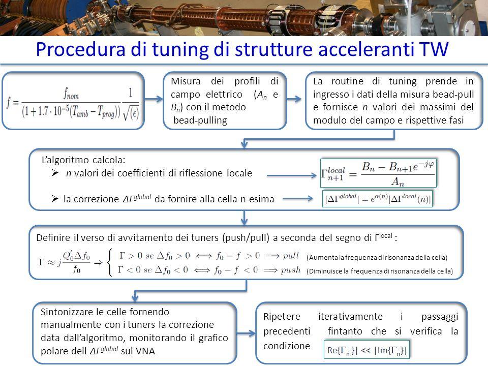 Procedura di tuning di strutture acceleranti TW Misura dei profili di campo elettrico (A n e B n ) con il metodo bead-pulling Misura della temperatura