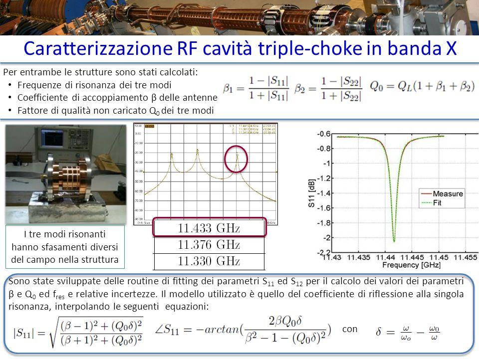 Caratterizzazione RF cavità triple-choke in banda X Per entrambe le strutture sono stati calcolati: Frequenze di risonanza dei tre modi Coefficiente d