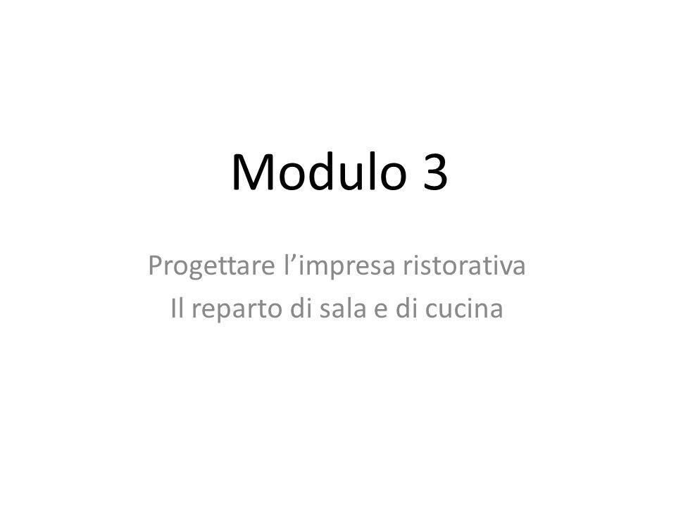 Modulo 3 Progettare limpresa ristorativa Il reparto di sala e di cucina
