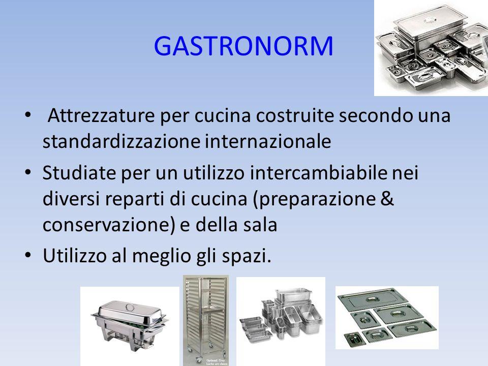 GASTRONORM Attrezzature per cucina costruite secondo una standardizzazione internazionale Studiate per un utilizzo intercambiabile nei diversi reparti
