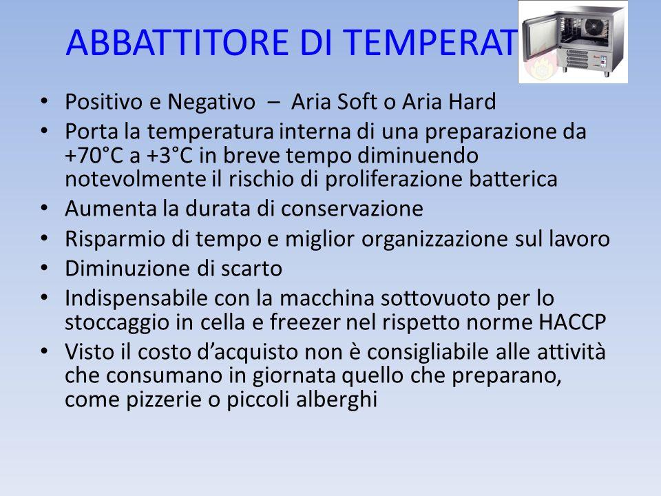 ABBATTITORE DI TEMPERATURA Positivo e Negativo – Aria Soft o Aria Hard Porta la temperatura interna di una preparazione da +70°C a +3°C in breve tempo