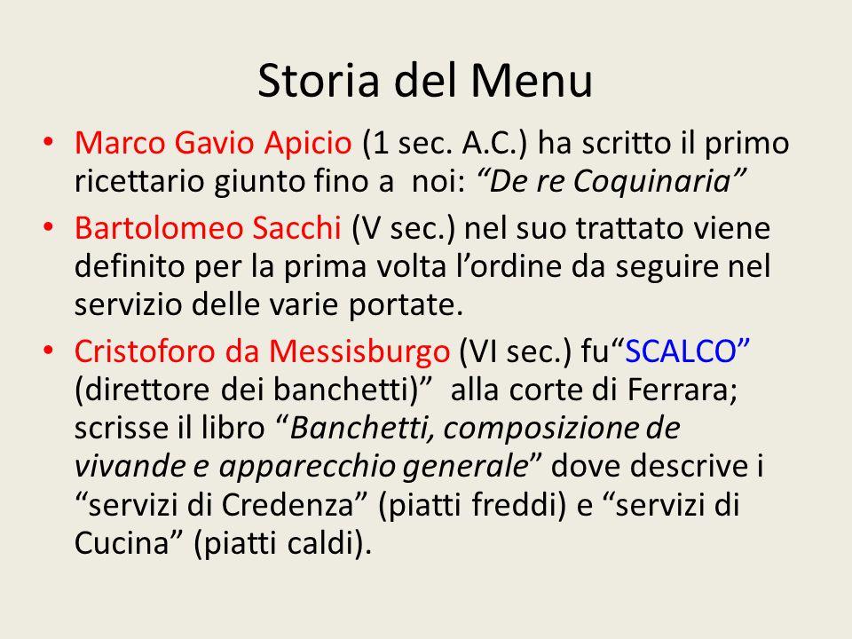 Storia del Menu Marco Gavio Apicio (1 sec.