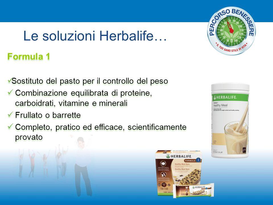Le soluzioni Herbalife… Formula 1 Sostituto del pasto per il controllo del peso Combinazione equilibrata di proteine, carboidrati, vitamine e minerali