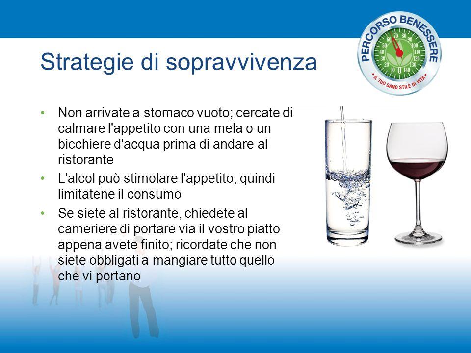 Strategie di sopravvivenza Non arrivate a stomaco vuoto; cercate di calmare l'appetito con una mela o un bicchiere d'acqua prima di andare al ristoran