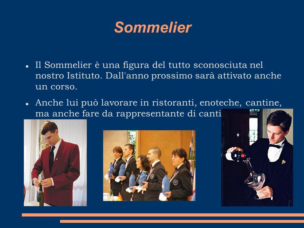 Sommelier Il Sommelier è una figura del tutto sconosciuta nel nostro Istituto. Dall'anno prossimo sarà attivato anche un corso. Anche lui può lavorare