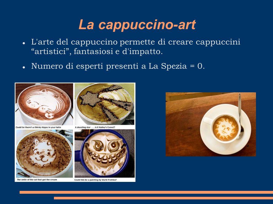 La cappuccino-art L'arte del cappuccino permette di creare cappuccini artistici, fantasiosi e d'impatto. Numero di esperti presenti a La Spezia = 0.