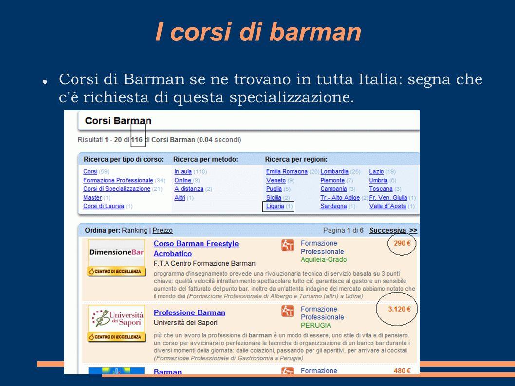 I corsi di barman Corsi di Barman se ne trovano in tutta Italia: segna che c'è richiesta di questa specializzazione.