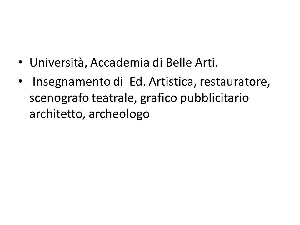 Università, Accademia di Belle Arti. Insegnamento di Ed. Artistica, restauratore, scenografo teatrale, grafico pubblicitario architetto, archeologo