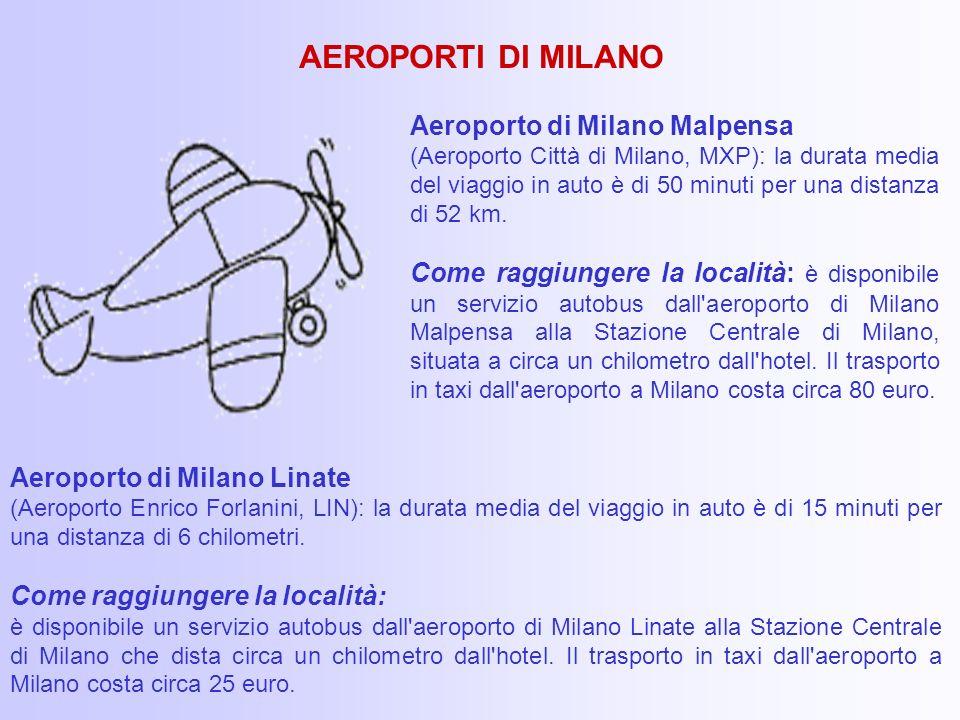 Aeroporto di Milano Linate (Aeroporto Enrico Forlanini, LIN): la durata media del viaggio in auto è di 15 minuti per una distanza di 6 chilometri.