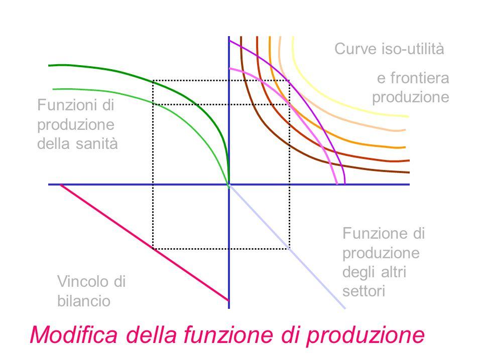 Vincolo di bilancio Funzione di produzione degli altri settori Funzioni di produzione della sanità Curve iso-utilità e frontiera produzione Modifica della funzione di produzione