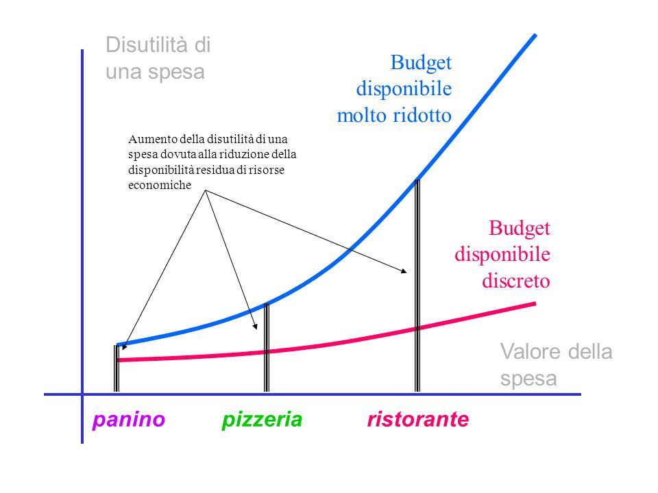 Disutilità di una spesa Valore della spesa Budget disponibile molto ridotto Budget disponibile discreto paninopizzeriaristorante Aumento della disutilità di una spesa dovuta alla riduzione della disponibilità residua di risorse economiche