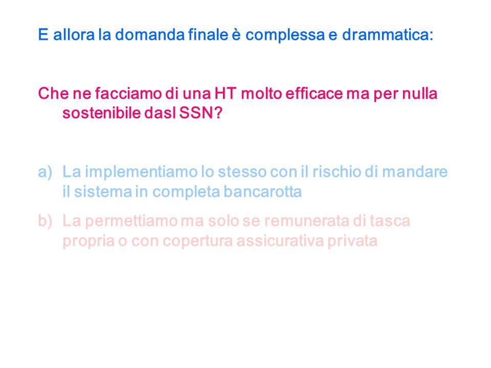 E allora la domanda finale è complessa e drammatica: Che ne facciamo di una HT molto efficace ma per nulla sostenibile dasl SSN.