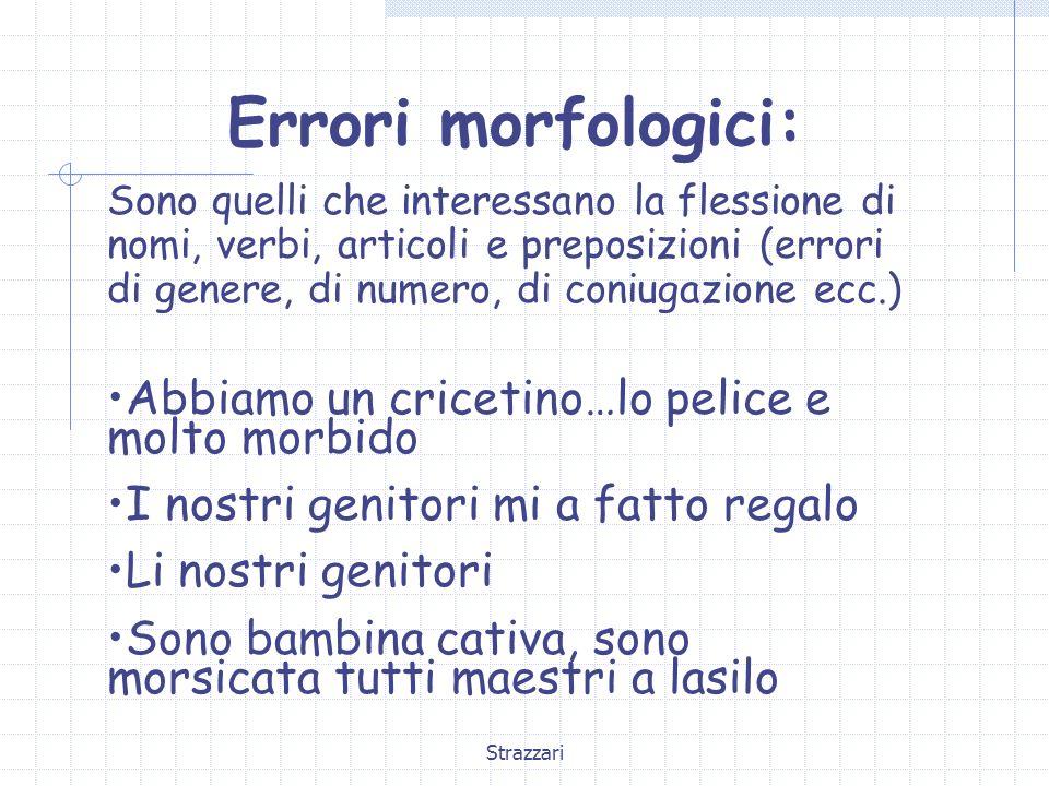 Strazzari Errori morfologici: Sono quelli che interessano la flessione di nomi, verbi, articoli e preposizioni (errori di genere, di numero, di coniug