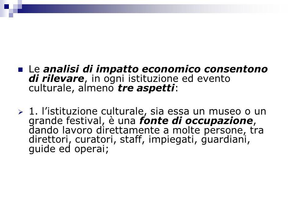 Le analisi di impatto economico consentono di rilevare, in ogni istituzione ed evento culturale, almeno tre aspetti: 1. listituzione culturale, sia es
