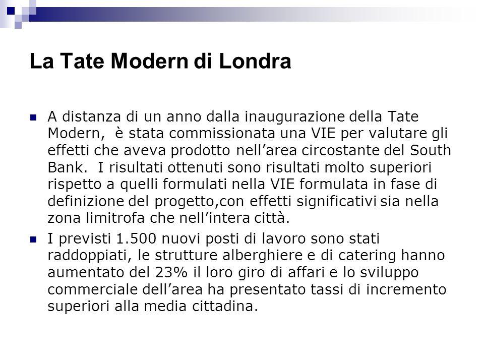 La Tate Modern di Londra A distanza di un anno dalla inaugurazione della Tate Modern, è stata commissionata una VIE per valutare gli effetti che aveva