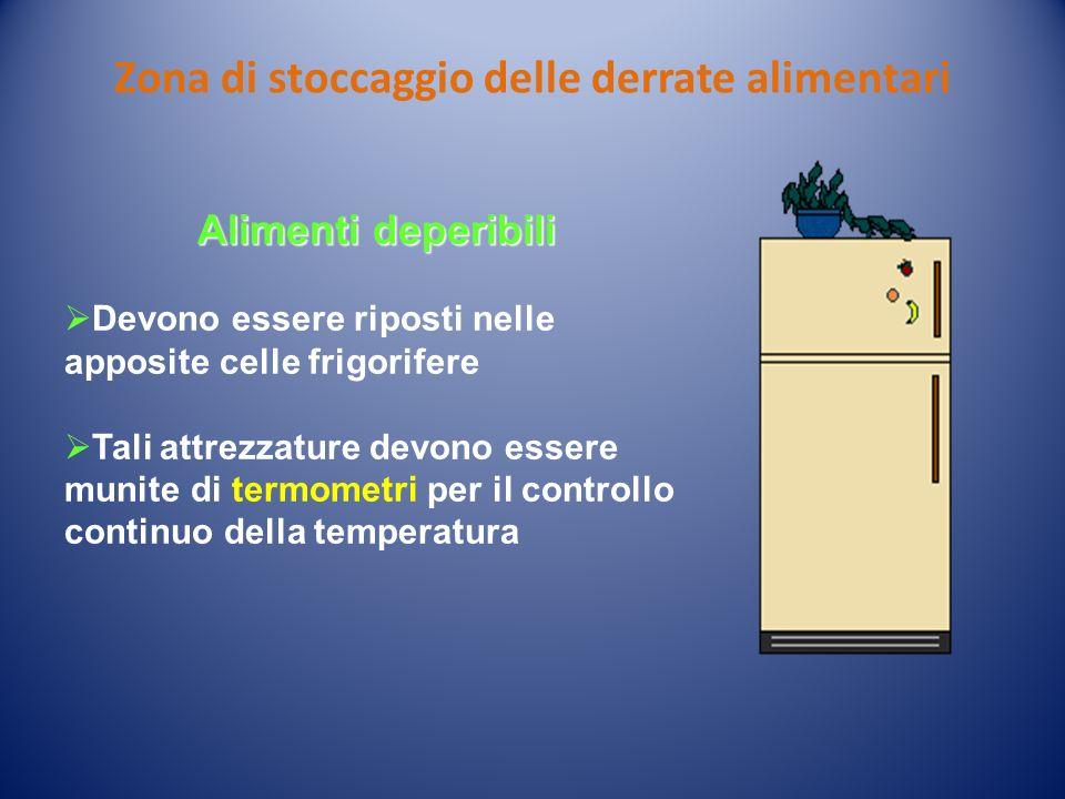 Zona di stoccaggio delle derrate alimentari Alimenti deperibili Devono essere riposti nelle apposite celle frigorifere Tali attrezzature devono essere