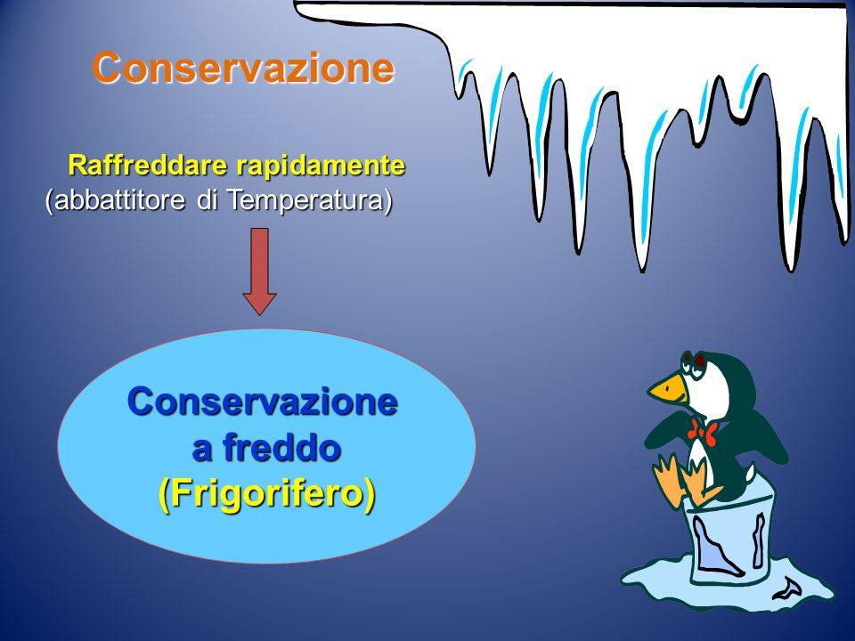 Conservazione a freddo (Frigorifero) Raffreddare rapidamente Raffreddare rapidamente (abbattitore di Temperatura) Conservazione