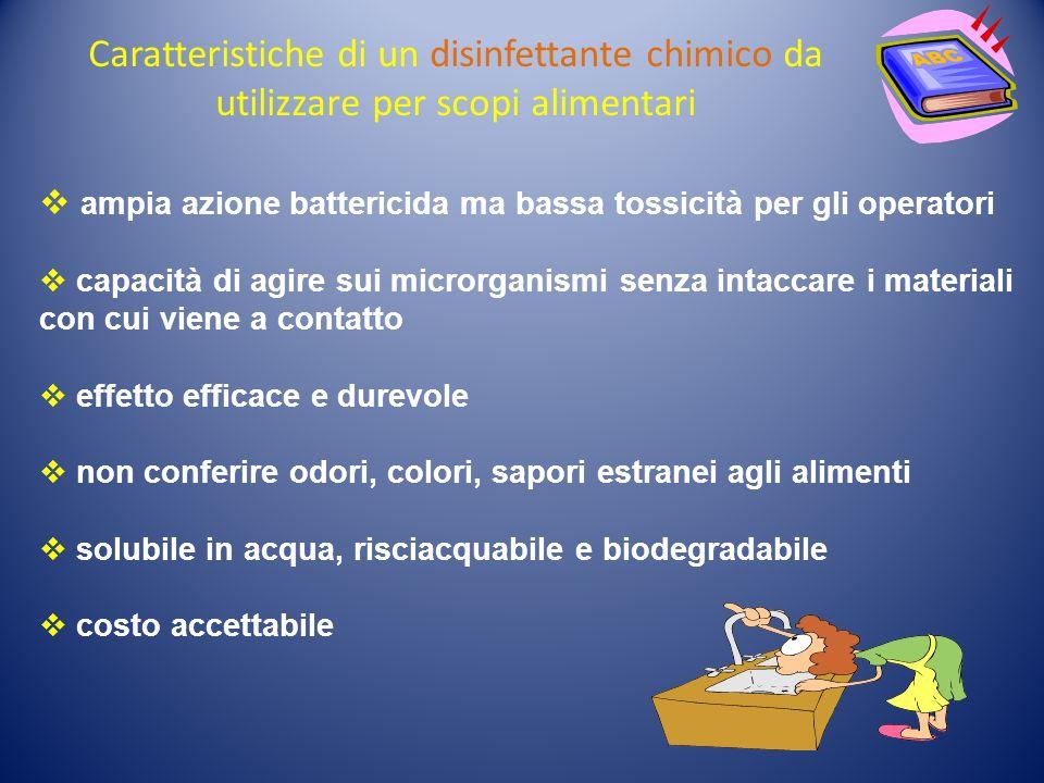 Caratteristiche di un disinfettante chimico da utilizzare per scopi alimentari ampia azione battericida ma bassa tossicità per gli operatori capacità