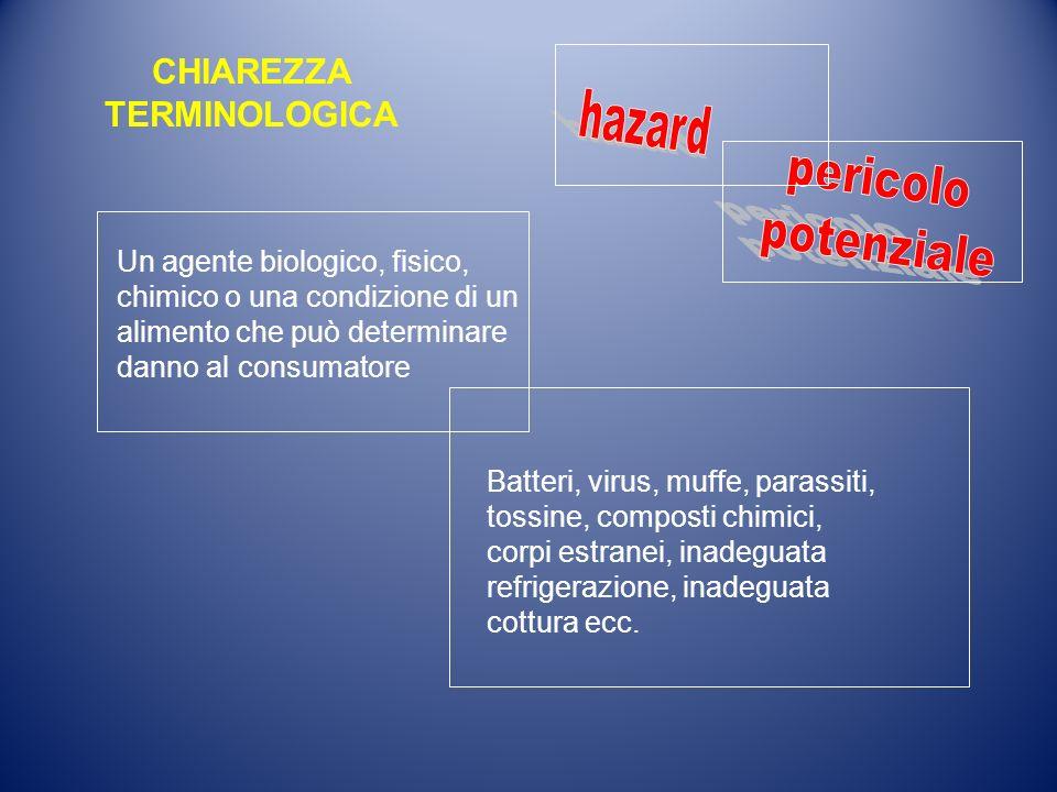 Un agente biologico, fisico, chimico o una condizione di un alimento che può determinare danno al consumatore Batteri, virus, muffe, parassiti, tossin