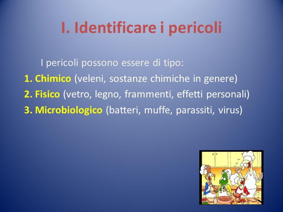I. Identificare i pericoli I pericoli possono essere di tipo: 1. Chimico (veleni, sostanze chimiche in genere) 2. Fisico (vetro, legno, frammenti, eff
