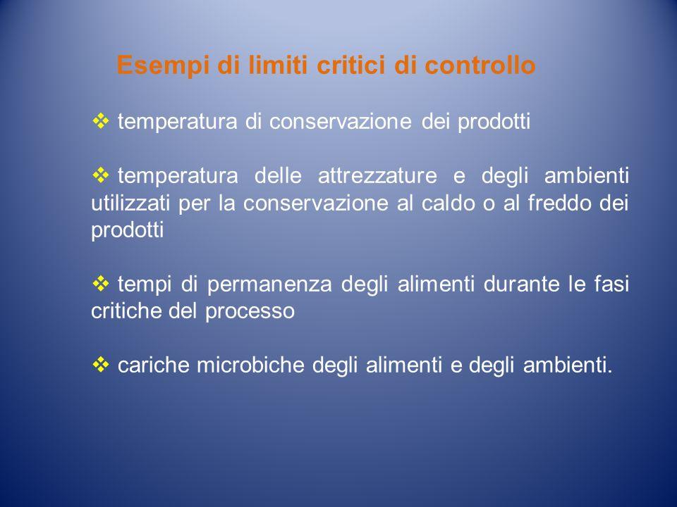 Esempi di limiti critici di controllo temperatura di conservazione dei prodotti temperatura delle attrezzature e degli ambienti utilizzati per la cons