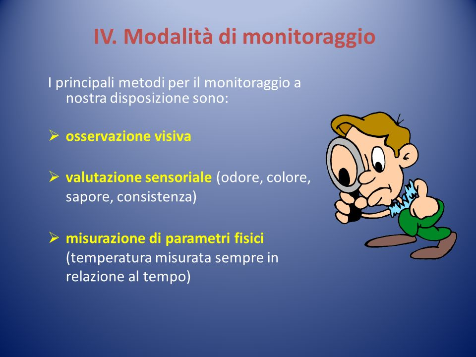 IV. Modalità di monitoraggio I principali metodi per il monitoraggio a nostra disposizione sono: osservazione visiva valutazione sensoriale (odore, co