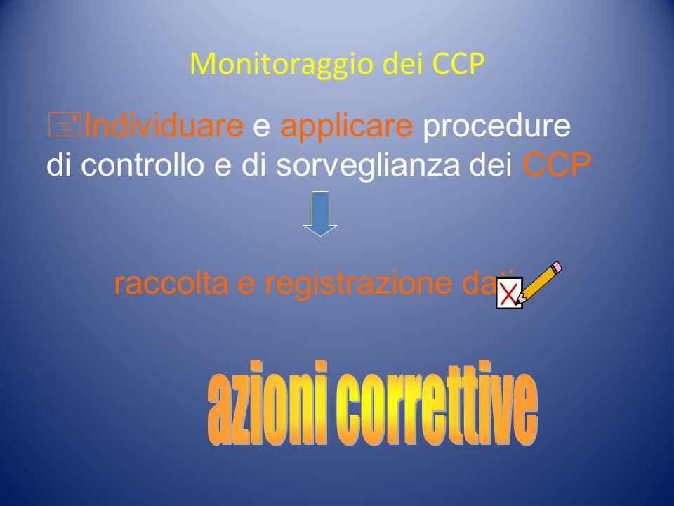 Monitoraggio dei CCP Individuare e applicare procedure di controllo e di sorveglianza dei CCP raccolta e registrazione dati