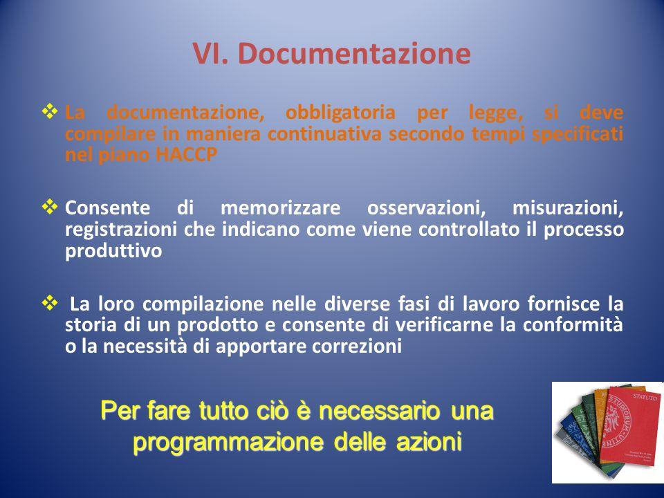 VI. Documentazione La documentazione, obbligatoria per legge, si deve compilare in maniera continuativa secondo tempi specificati nel piano HACCP Cons