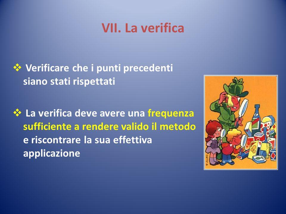 VII. La verifica Verificare che i punti precedenti siano stati rispettati La verifica deve avere una frequenza sufficiente a rendere valido il metodo