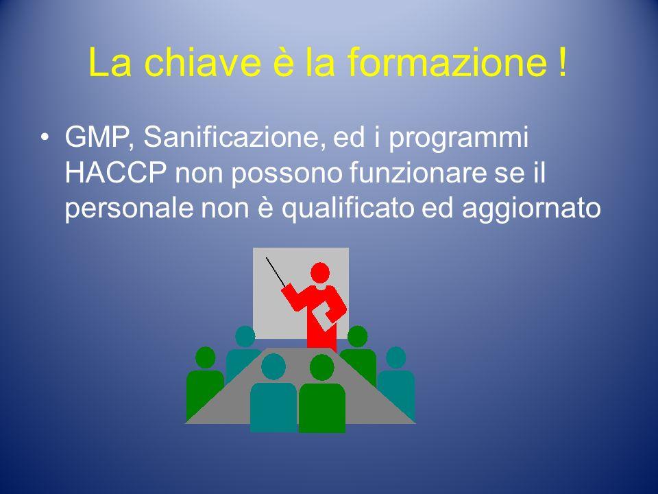 La chiave è la formazione ! GMP, Sanificazione, ed i programmi HACCP non possono funzionare se il personale non è qualificato ed aggiornato