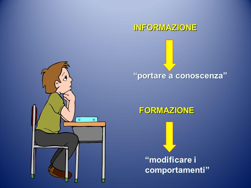 INFORMAZIONE portare a conoscenza FORMAZIONE modificare i comportamenti