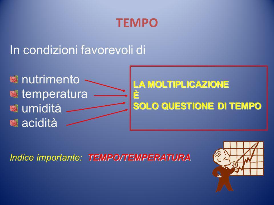 TEMPO In condizioni favorevoli di nutrimento temperatura umidità acidità TEMPO/TEMPERATURA Indice importante: TEMPO/TEMPERATURA LA MOLTIPLICAZIONE È S