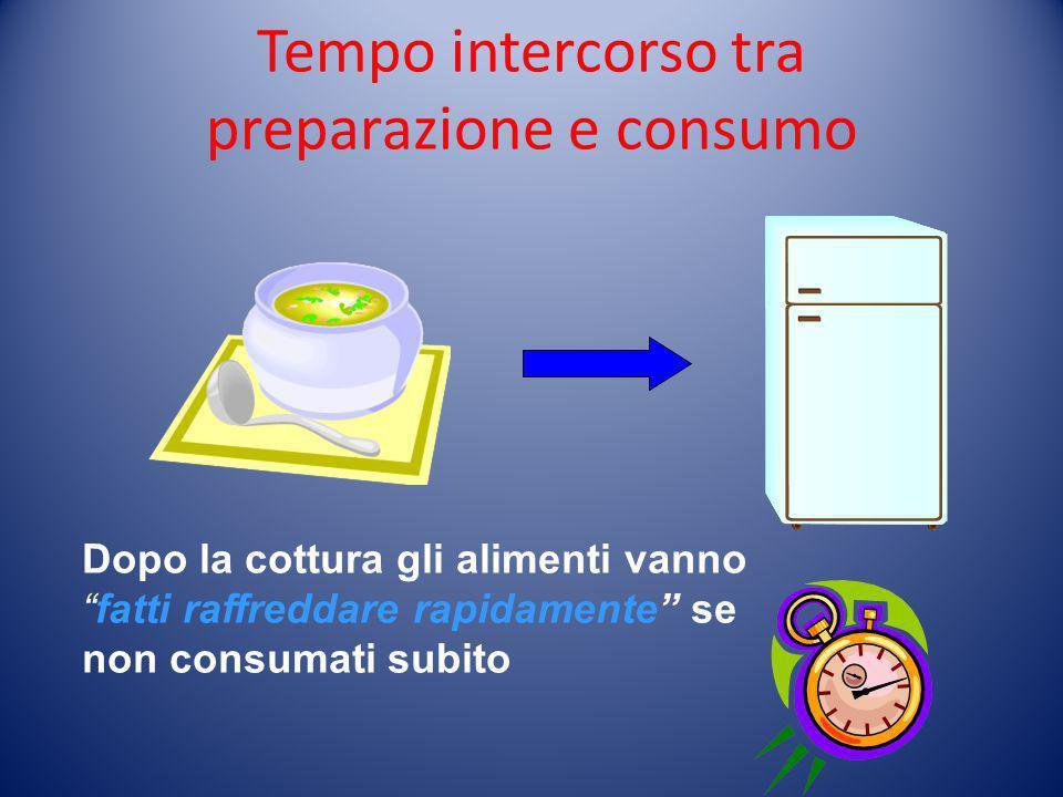 Tempo intercorso tra preparazione e consumo Dopo la cottura gli alimenti vannofatti raffreddare rapidamente se non consumati subito