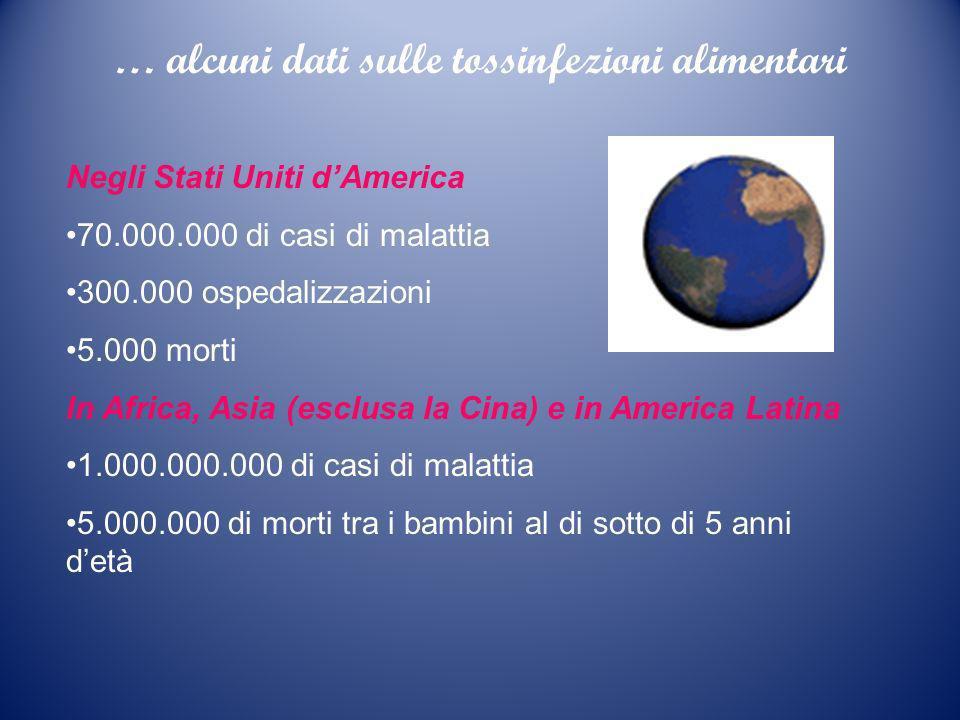 … alcuni dati sulle tossinfezioni alimentari Negli Stati Uniti dAmerica 70.000.000 di casi di malattia 300.000 ospedalizzazioni 5.000 morti In Africa,