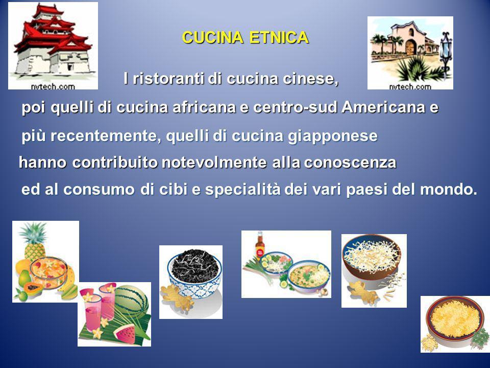 I ristoranti di cucina cinese, poi quelli di cucina africana e centro-sud Americana e più recentemente, quelli di cucina giapponese hanno contribuito
