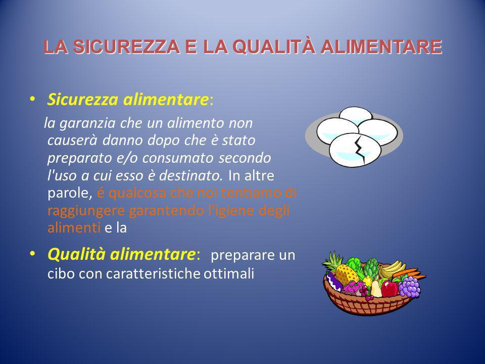 Sicurezza alimentare: la garanzia che un alimento non causerà danno dopo che è stato preparato e/o consumato secondo l'uso a cui esso è destinato. In