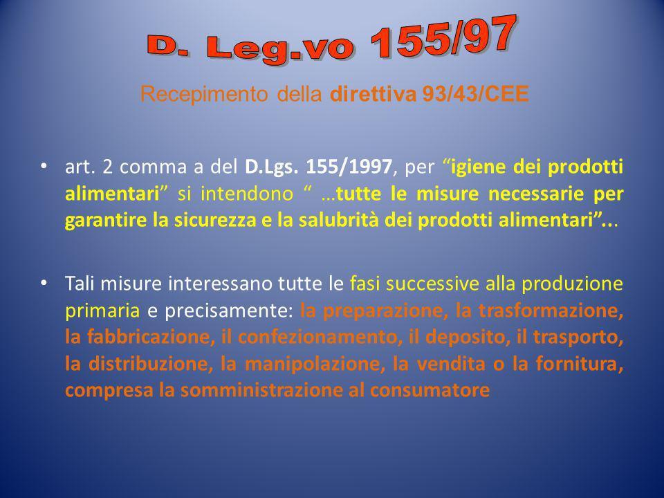 art. 2 comma a del D.Lgs. 155/1997, per igiene dei prodotti alimentari si intendono …tutte le misure necessarie per garantire la sicurezza e la salubr