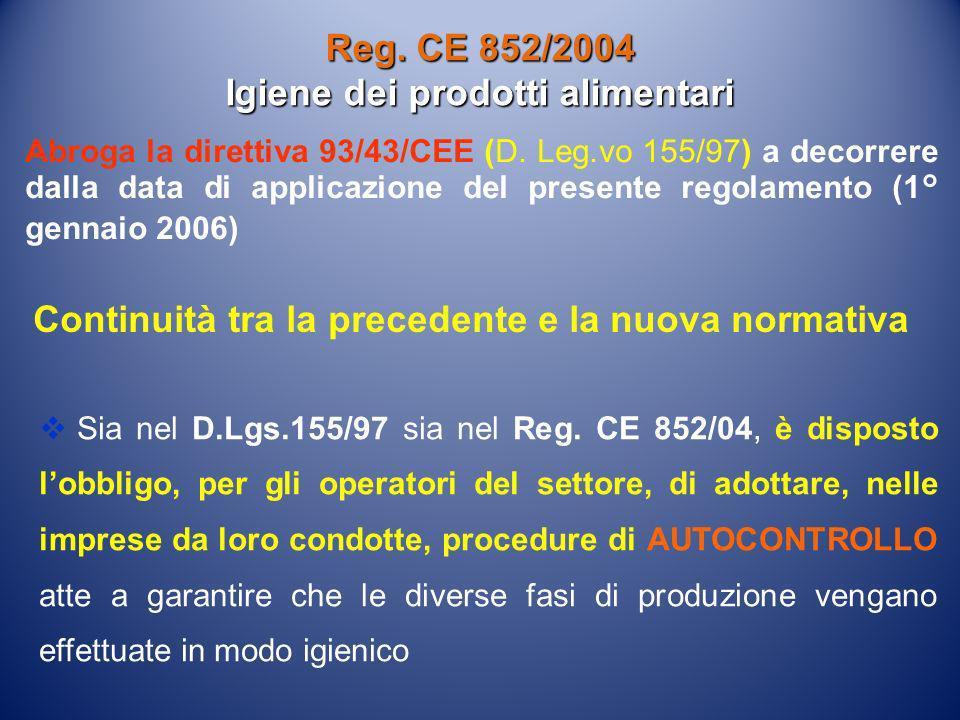 Abroga la direttiva 93/43/CEE (D. Leg.vo 155/97) a decorrere dalla data di applicazione del presente regolamento (1° gennaio 2006) Reg. CE 852/2004 Ig