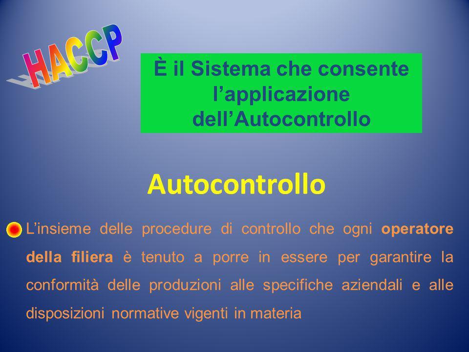 È il Sistema che consente lapplicazione dellAutocontrollo Autocontrollo Linsieme delle procedure di controllo che ogni operatore della filiera è tenut