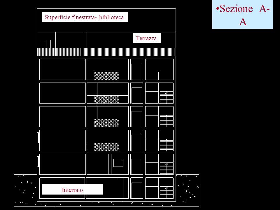 Sezione A- A Terrazza Superficie finestrata- biblioteca Interrato