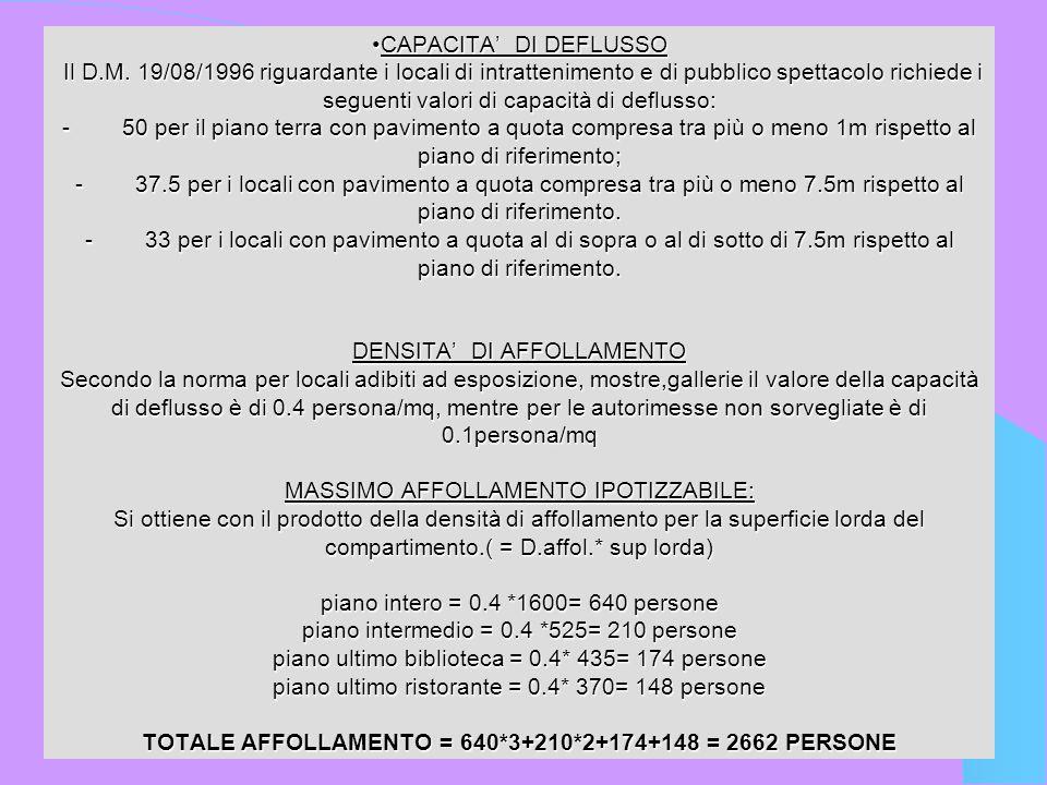 CAPACITA DI DEFLUSSO Il D.M. 19/08/1996 riguardante i locali di intrattenimento e di pubblico spettacolo richiede i seguenti valori di capacità di def