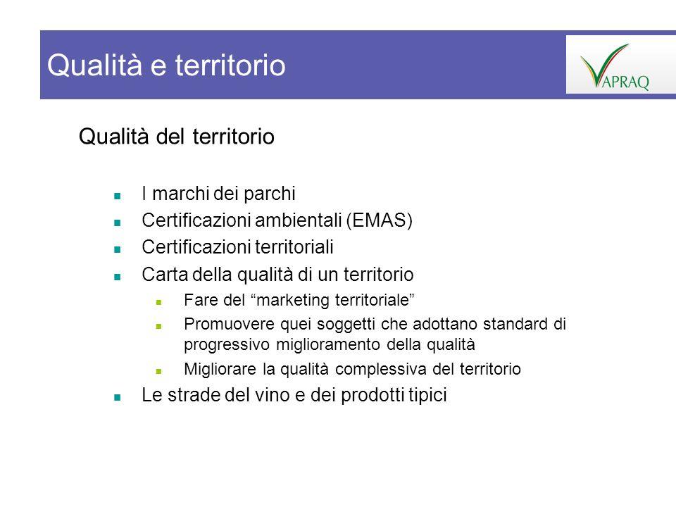 Qualità del territorio I marchi dei parchi Certificazioni ambientali (EMAS) Certificazioni territoriali Carta della qualità di un territorio Fare del
