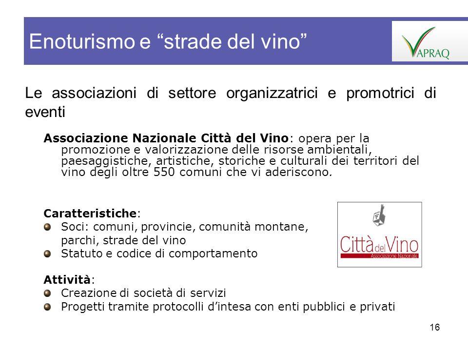 16 Le associazioni di settore organizzatrici e promotrici di eventi Enoturismo e strade del vino Associazione Nazionale Città del Vino: opera per la p