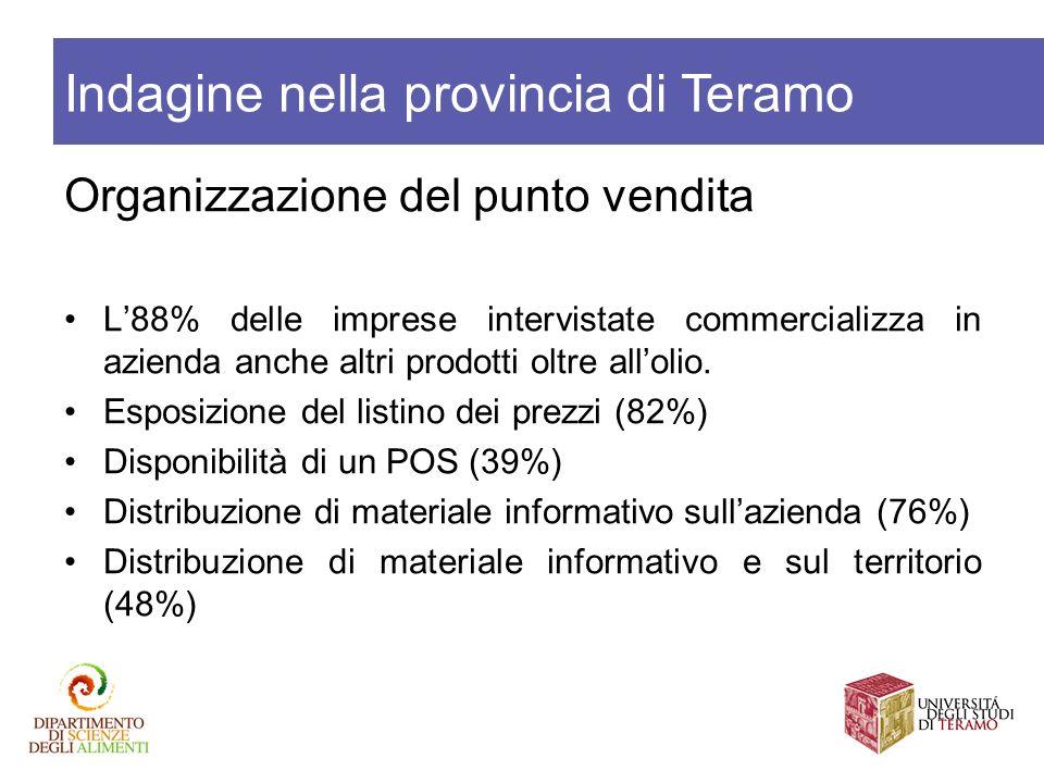 Organizzazione del punto vendita L88% delle imprese intervistate commercializza in azienda anche altri prodotti oltre allolio. Esposizione del listino