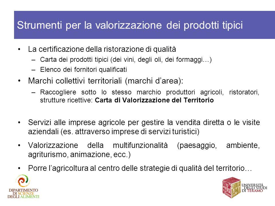 La certificazione della ristorazione di qualità –Carta dei prodotti tipici (dei vini, degli oli, dei formaggi…) –Elenco dei fornitori qualificati Marc
