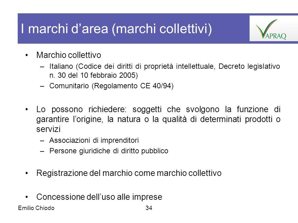Emilio Chiodo34 Marchio collettivo –Italiano (Codice dei diritti di proprietà intellettuale, Decreto legislativo n. 30 del 10 febbraio 2005) –Comunita