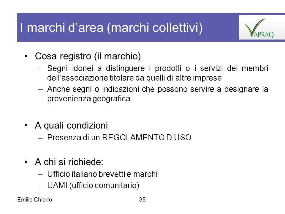 Emilio Chiodo35 Cosa registro (il marchio) –Segni idonei a distinguere i prodotti o i servizi dei membri dellassociazione titolare da quelli di altre