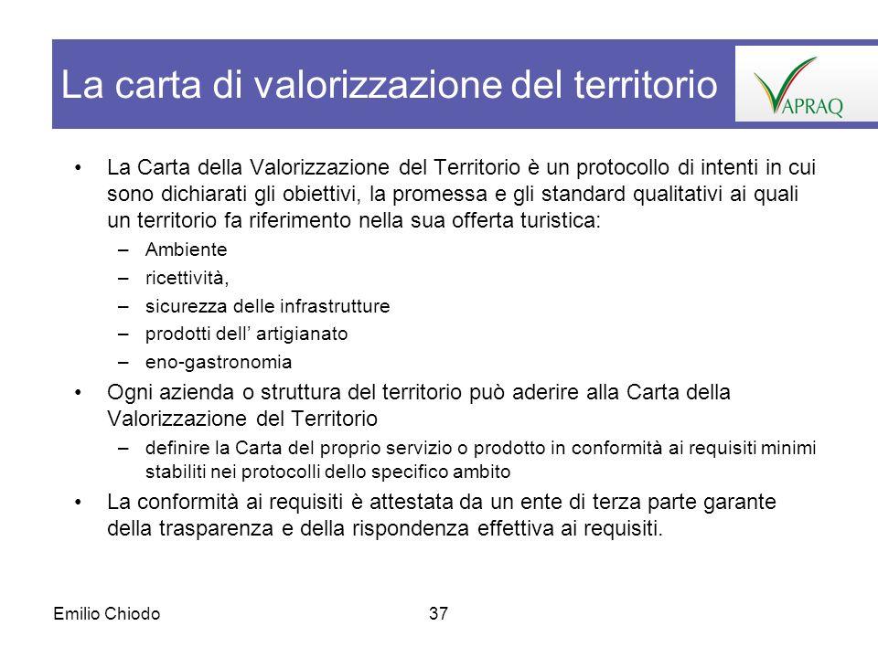 Emilio Chiodo37 La Carta della Valorizzazione del Territorio è un protocollo di intenti in cui sono dichiarati gli obiettivi, la promessa e gli standa